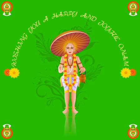 pookolam: easy to edit vector illustration of King Mahabali in Onam greeting Illustration