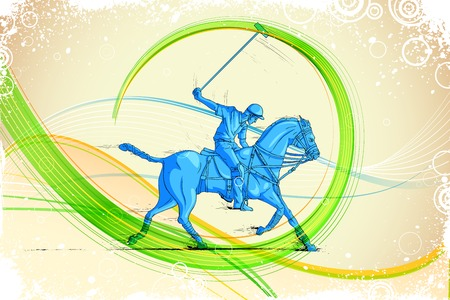 easy to edit vector illustration of polo horse player Illustration