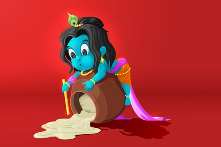 easy to edit vector illustration of baal Krishna