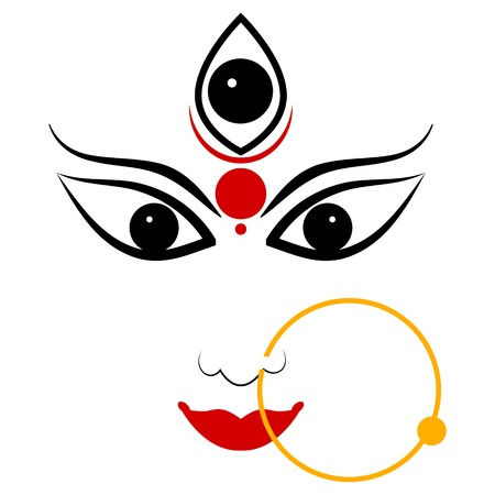 easy to edit vector illustration of Goddess Durga Illustration
