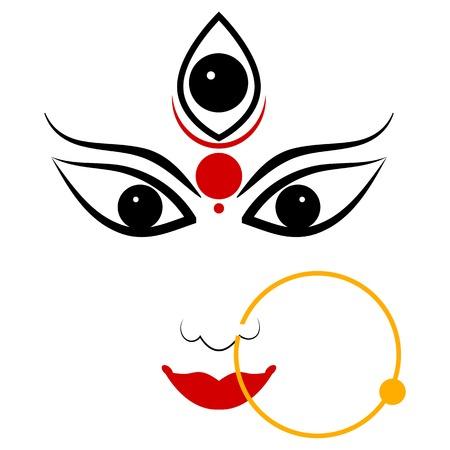 easy to edit vector illustration of Goddess Durga Stock Illustratie