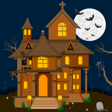 house party: easy to edit vector illustration of haunted house in Halloween background