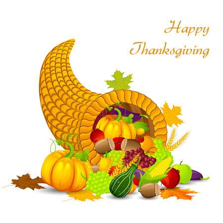 cuerno de la abundancia: fácil de editar ilustración vectorial de Acción de Gracias cosecha del festival Vectores