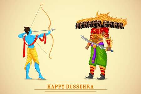 dussehra: easy to edit vector illustration of Rama killing Ravana in Dussehra