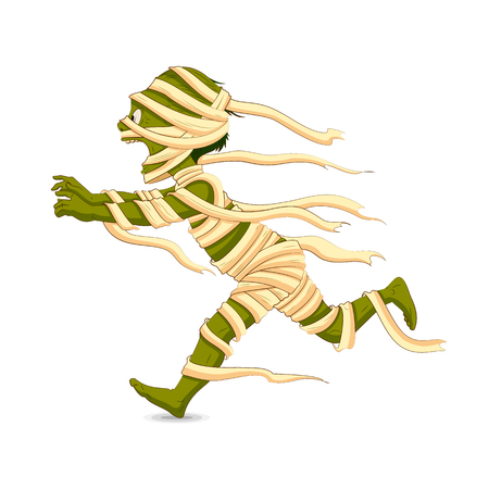 easy to edit vector illustration of running Halloween Mummy Vector