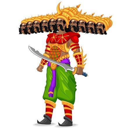 navratri: easy to edit vector illustration of Ravana monster in Dussehra