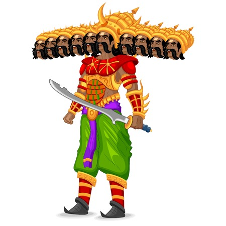 easy to edit vector illustration of Ravana monster in Dussehra