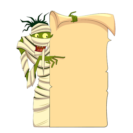 mummified: easy to edit vector illustration of Halloween Mummy pointing on blank space