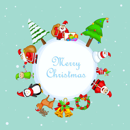 easy to edit vector illustration of Merry Christmas card Vector