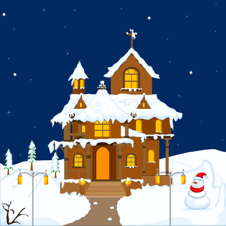 easy to edit vector illustration of decorated house for Christmas Vector
