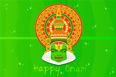 mahabharata: easy to edit vector illustration of Onam greetings