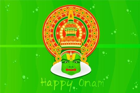 kathakali: easy to edit vector illustration of Onam greetings