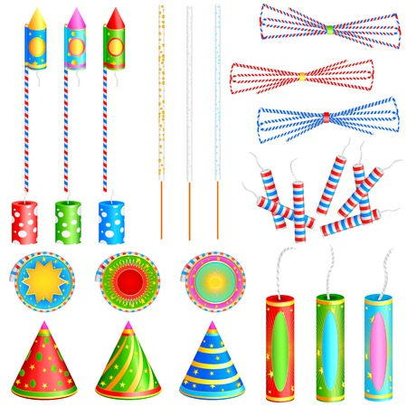 easy to edit vector illustration of colorful firecracker Vector