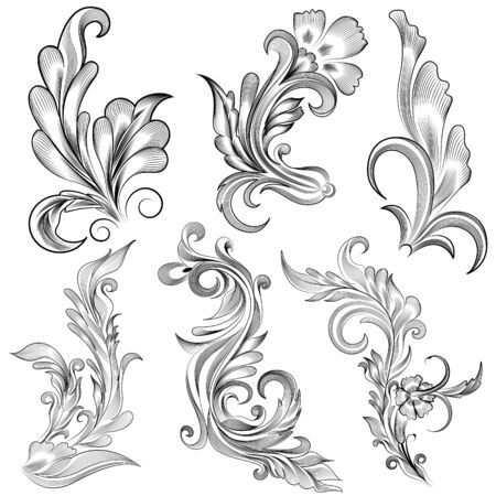 easy to edit vector illustration of floral calligraphic design Vector