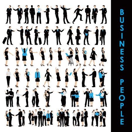 entrepreneur: easy to edit vector illustration of collection of business people