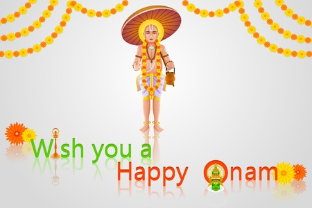 theatrical dance: easy to edit vector illustration of King Mahabali in Onam greeting Illustration
