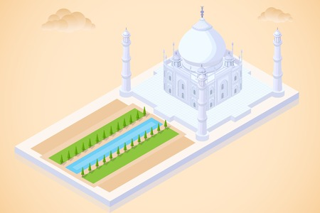 easy to edit vector illustration of Taj Mahal isometric view Çizim