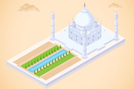gemakkelijk te vector illustratie van Taj Mahal isometrisch aanzicht bewerken Stock Illustratie