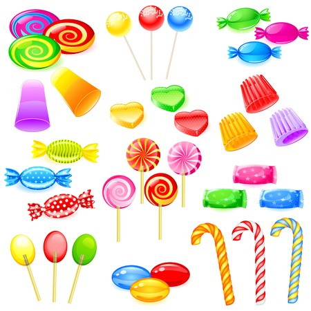 easy to edit vector illustration of colorful sweet candies