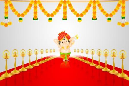 god of wealth: easy to edit vector illustration of Lord Ganesha Illustration
