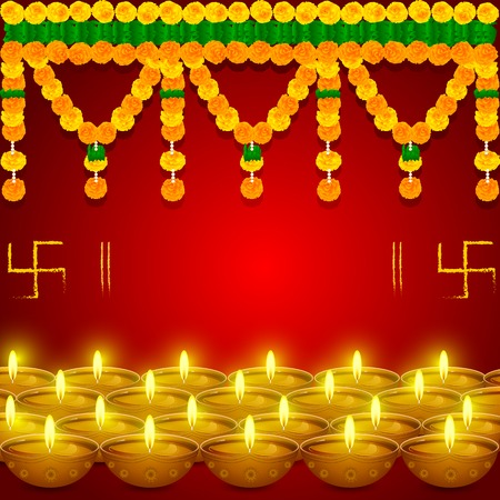 easy to edit vector illustration of flower toran with diya in festival