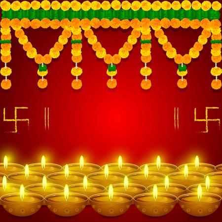 gemakkelijk te bewerken vector afbeelding van bloem toran bewerken met diya in festival
