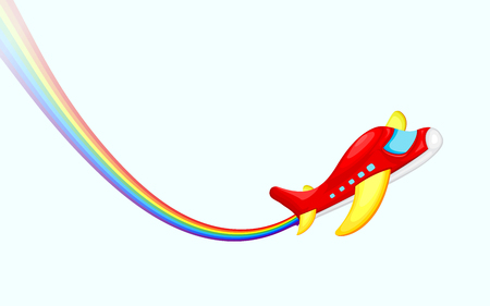 takeoff: easy to edit vector illustration of airplane making rainbow