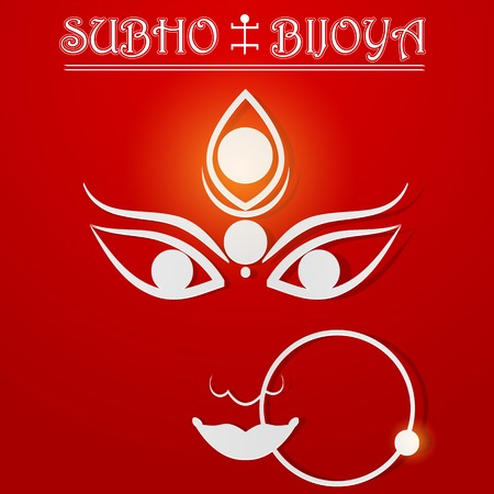 easy to edit vector illustration of Subho Bijoya wishing for Happy Dussehra Illustration