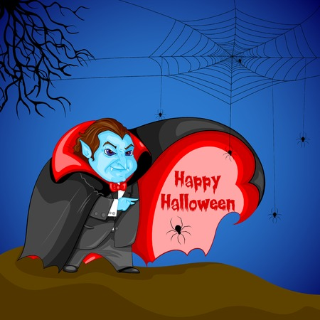 easy to edit vector illustration of Dracula wishing Happy Halloween Vector