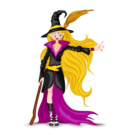 sexy costume: easy to edit vector illustration of Halloween witch with broomstick Illustration