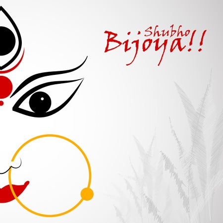 easy to edit vector illustration of Subho Bijoya wishing for Happy Dussehra Vectores