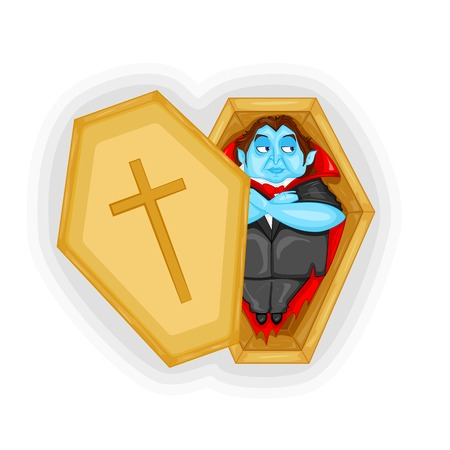 easy to edit vector illustration of Dracula Dracula laying in Coffin