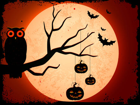 vector illustration of Owl sitting on tree in Halloween Night Vector