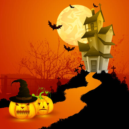bird house: easy to edit vector illustration of haunted house in Halloween background