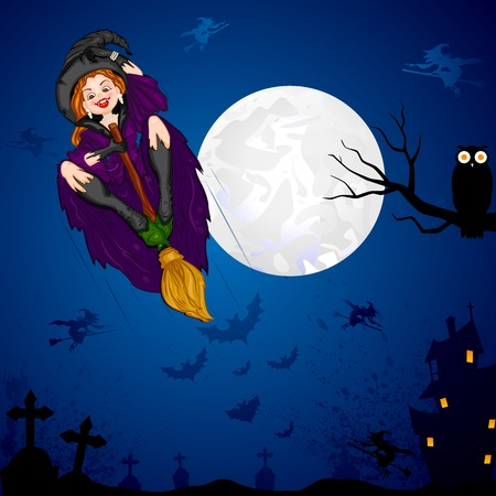 easy to edit vector illustration of Halloween witch flying on broomstick Vector