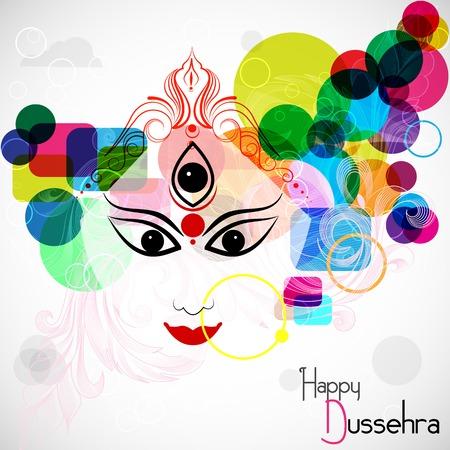 easy to edit vector illustration Goddess Durga for Happy Dussehra