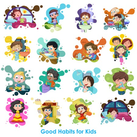 kids eating: easy to edit vector illustration of good habits chart