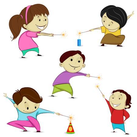 petardo: f�cil de editar ilustraci�n vectorial de ni�os jugando con petardos en Diwali