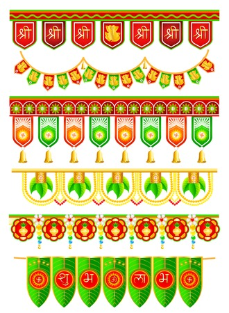 hindu god: easy to edit vector illustration of colorful doorway hanging for Indian traditional decoration