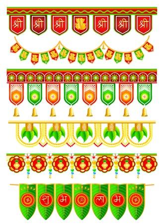 fácil de editar ilustración vectorial de colorido que cuelga puerta para la decoración tradicional de la India