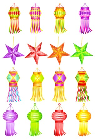 easy to edit vector illustration of colorful Kandil for Diwali decoration
