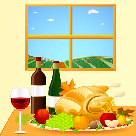 thanksgiving dinner: easy to edit vector illustration of Thanksgiving Dinner