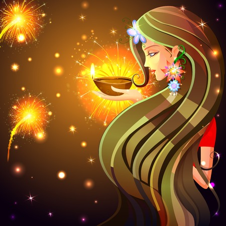 easy to edit vector illustration of woman wishing Happy Diwali