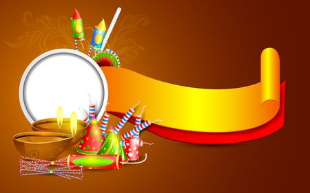easy to edit vector illustration of Diwali banner with diya and firecracker Vector