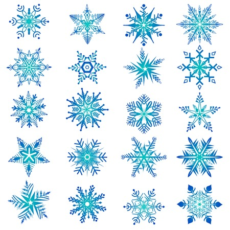 easy to edit vector illustration of collection of snowflake