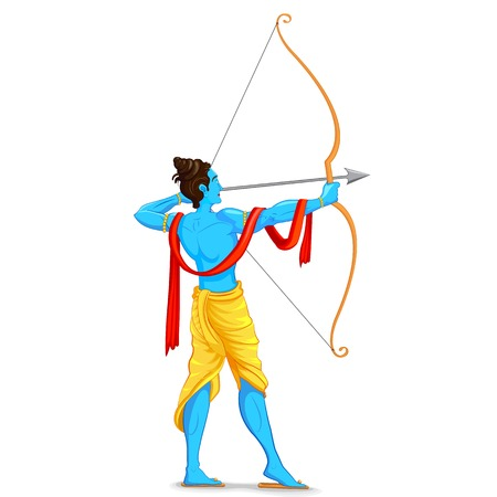 easy to edit vector illustration of Lord Rama with bow and arrow Stock Illustratie