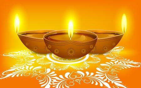 diya: easy to edit vector illustration of diya on rangoli for Diwali