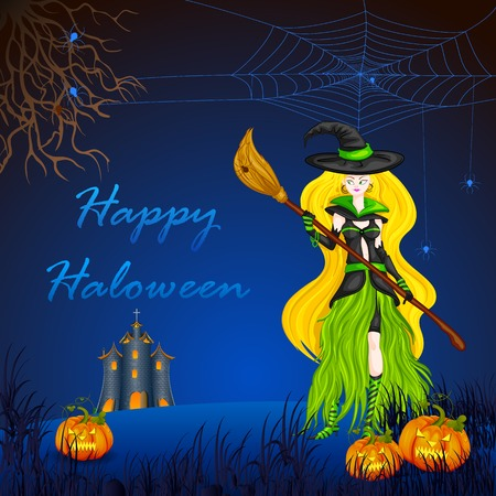easy to edit vector illustration of Halloween witch with broomstick Vector