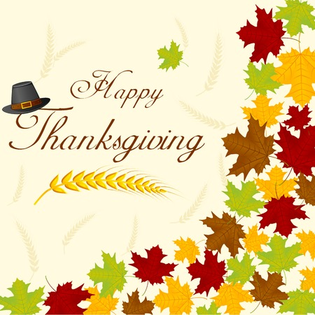 easy to edit vector illustration of thanksgiving day background with maple leaves Vector