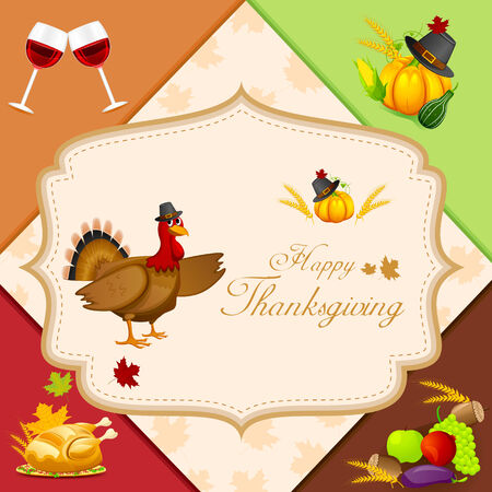 easy to edit vector illustration of Thanksgiving Harvesting festival Vector